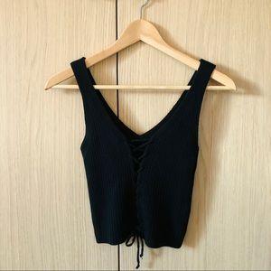 Black Front Tie Knit Top XS